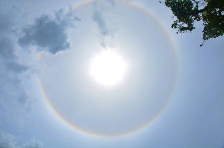 the natural phenomena: Sun halo is Natural phenomena Stock Photo