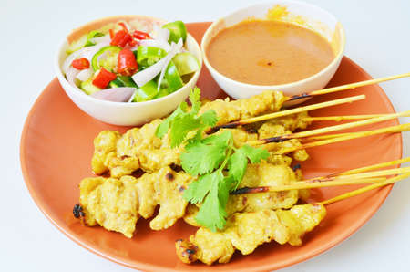 parch: Pork Satay with Peanut Sauce Thai food