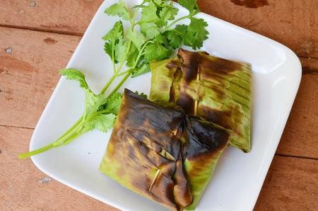 sugar palm: Fish grill in leaf banana