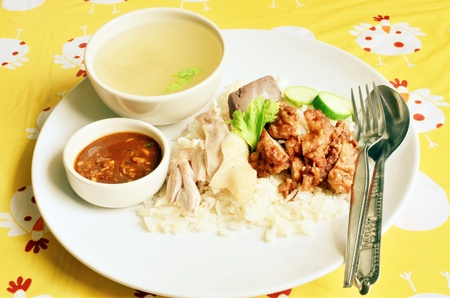 steamed: Steamed chicken with rice Stock Photo