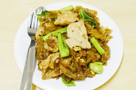fried noodle: Fried noodle with pork Stock Photo