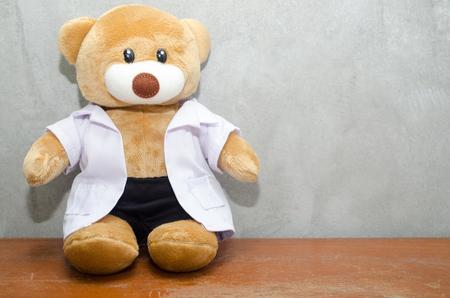 Bear on wooden table Stock Photo