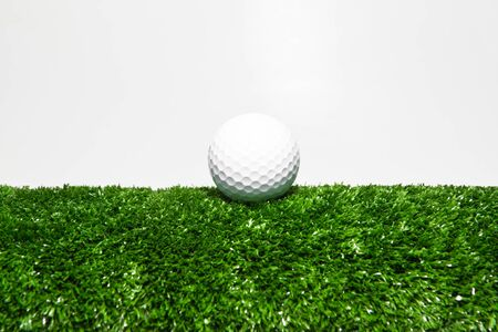 The white ball placed on the green lawn. 스톡 콘텐츠