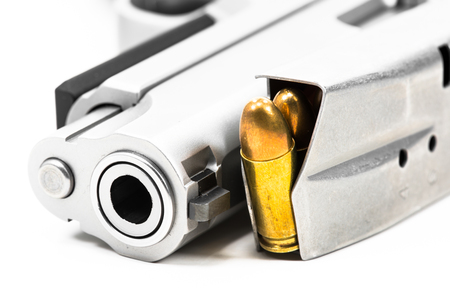 Guns and ammunition Put on white floor