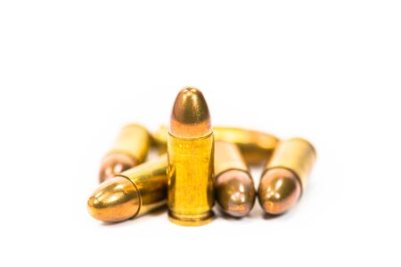 Ammo lot piled with white background Stock Photo