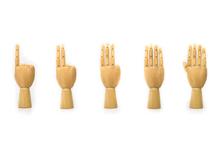 The fingers are made of wood, on a white background Stock Photo