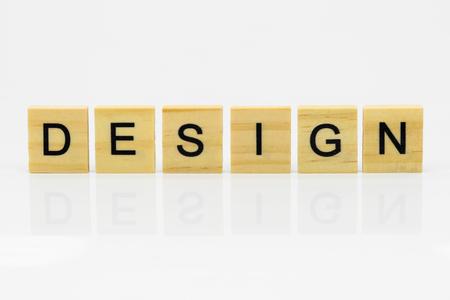 DESIGN on the wood Stock Photo