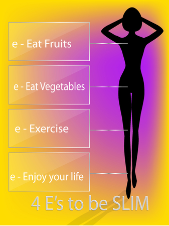 to be: silhouette woman with 4 tips to be slim vector