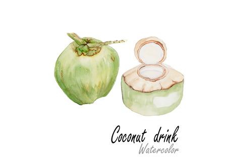Coconut drink.Hand drawn watercolor painting on white background.Vector illustration Illusztráció