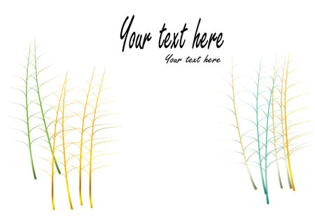 stalks: stalks leave  jewelry concept  color gold silver green blue  on white background  ,vector illustration