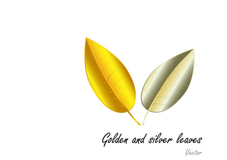 joyas de plata: Golden and Silver jewelry concept leaves on white background  ,vector illustration
