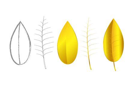 joyas de plata: Concepto de oro y de plata de la joyer�a hojas sobre fondo blanco, ilustraci�n vectorial Vectores