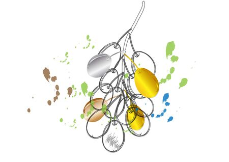 joyas de plata: Grapes fruit Golden and Silver jewelry concept  on white background  ,vector illustration