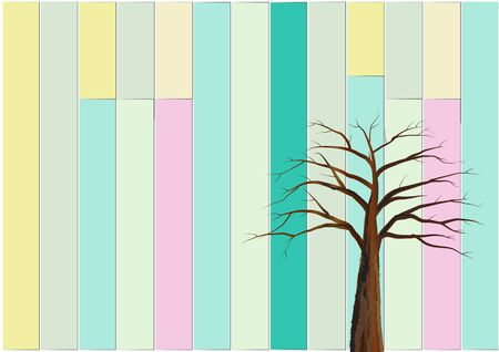 deciduous tree: deciduous tree  in front  of the colorful  wood wall vintage design.vector illustration