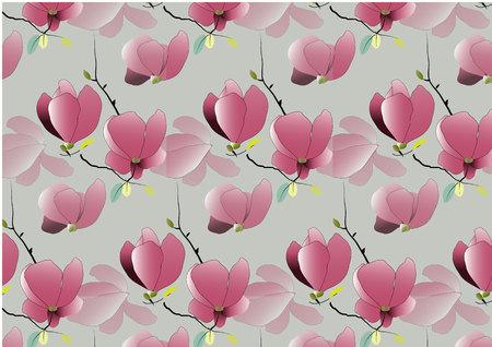 magnolia: Magnolia flowers pattern vector illustration