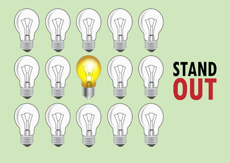 standing lamp: Lamp with light and no light to present to be different or out standing ,Vector illustration