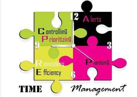 management concept: Jigsaw clock time management concept, Vector illustration,
