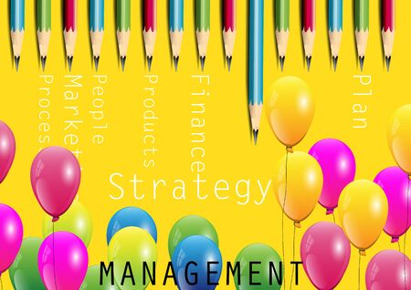 financial managers: Management concept,risk ,balloons and pencils on yellow background,vector illustration