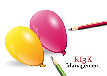risk management: Risk Management concept ,balloons and pencils Stock Illustratie