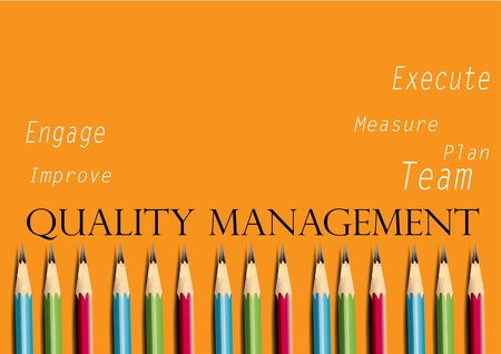 manager: Business concept Quality management, pencils Illustration