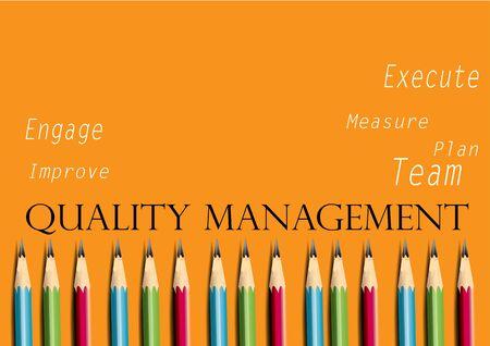 Business concept Quality management, pencils Illusztráció