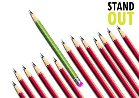 stand out: Business Concept, Stand out, marketing ,red pencils and green pencil.Vector illustration