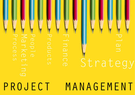 project management: Business concept,project management ,pencils on yellow background,Vector illustration