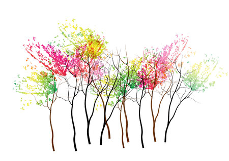 Trees,Colorful  tree autumn concept on white background,watercolor . Illustration