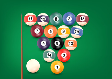 cue: Billiard balls with cue on green background Illustration