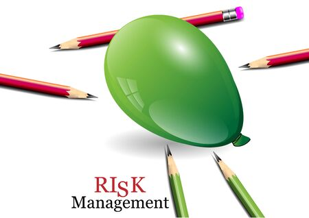 risk management: Risk management concept, balloon and pencils,vector illustration