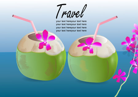 coconut drink: Green coconut drink ,open coconut with straw and flowers  blue background,travel concept
