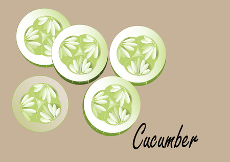 cucumbers: Cucumber and slice cucumbers on white background,vector illustration