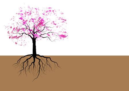 뿌리와 벚꽃 나무, 핑크 수채화 디자인, 벡터 일러스트 레이 션