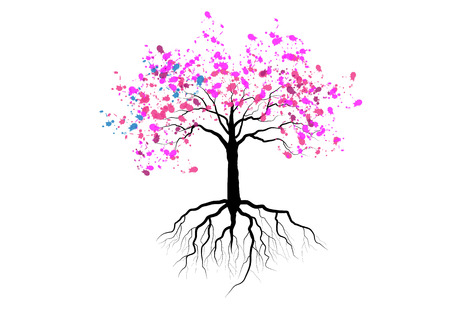 Cherry blossom with roots ,pink watercolor design ,vector illustration