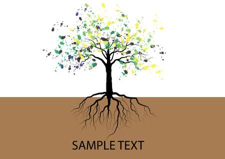 arbol raices: árbol con raíces raíces subterráneas, ilustración vectorial