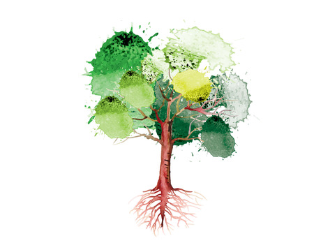 green tree with roots  on white background,watercolor brush design,vector illustration