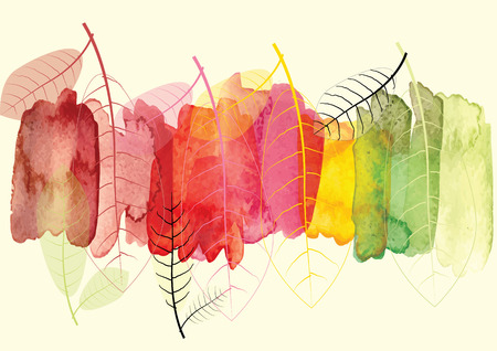 season: Watercolor abstract background  season change concept