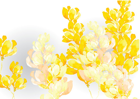 Abstract yellow tone  flower background  watercolor look created with watercolor art brush, vector illustration for background or card