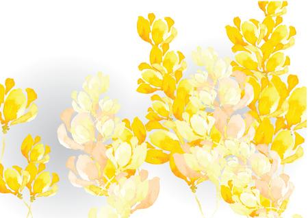 Abstracte gele toon bloem achtergrond aquarel look gemaakt met aquarel kunst penseel, vectorillustratie voor achtergrond of kaart