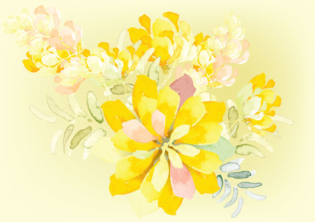 Resumen de color amarillo de la flor tono de fondo de la acuarela sensación que se logra con el cepillo de la acuarela del arte, ilustración vectorial para el fondo o en la tarjeta Ilustración de vector