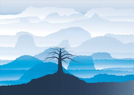 mountain view: Mountain View  landscape  silhouette  tree  on the  foreground ,vector illustration Illustration
