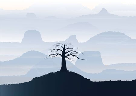rock layer: Mountain View  landscape  silhouette  tree  on the  foreground ,vector illustration Illustration