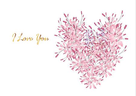 roze bloem hartvorm achtergrond, vector illustratie