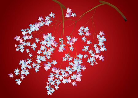 wall decal: Flower with branch on red background,vector illustration