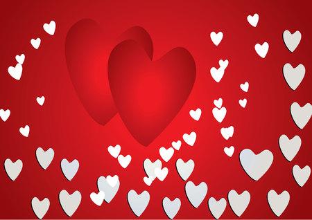 corazón rosado con diseño de flores de hortensia en el fondo rojo para el día de San Valentín