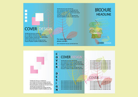 a5: Brochure Design Template. leaves concept, Abstract Modern Backgrounds, Infographic Concept. size A5, Front page and back page