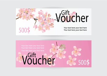 pink flower background: Gift voucher for marketing promotion with pink flower background Illustration
