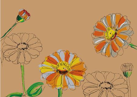 Zusammenfassung Blume mit Linie Kunst Zinniablumen für Hintergrund