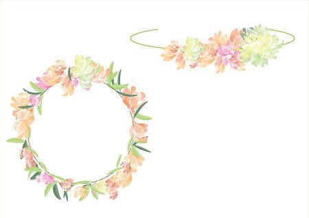 fleurs couronne sertie chemin latéral isolé sur fond blanc Vecteurs