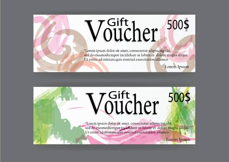 ques: Gift voucher for marketing promotion with  abstract watercolor art brush  background Illustration